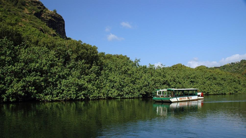 river boat sailing on river in Kauai