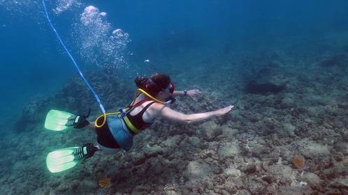 Diver on ocean floor in Kauai