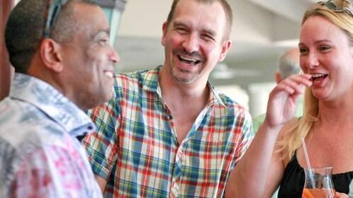 People enjoying conversation in Barbados