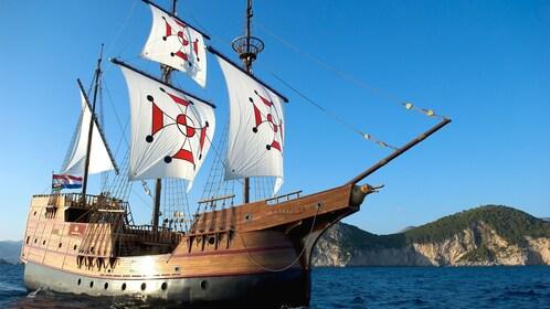 View of cruise ship at sail.