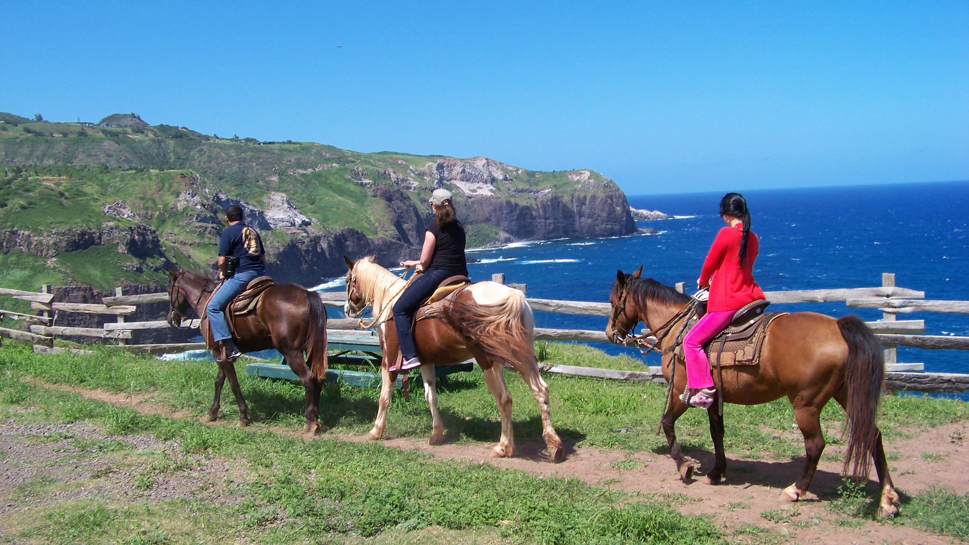 People horseback riding on a trail by the ocean in Maui