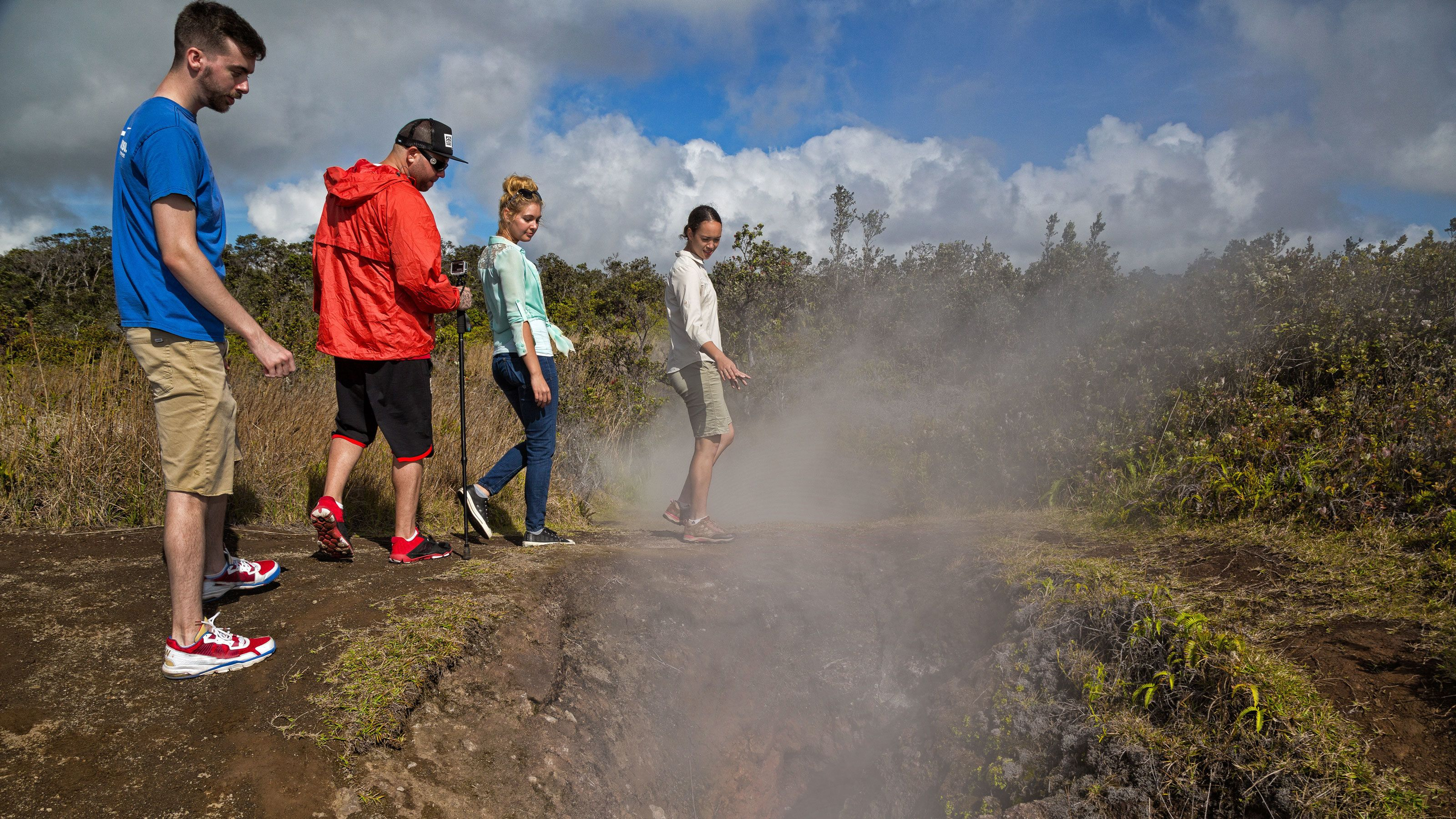 Group near vent on Volcano Country tour in Hawaii