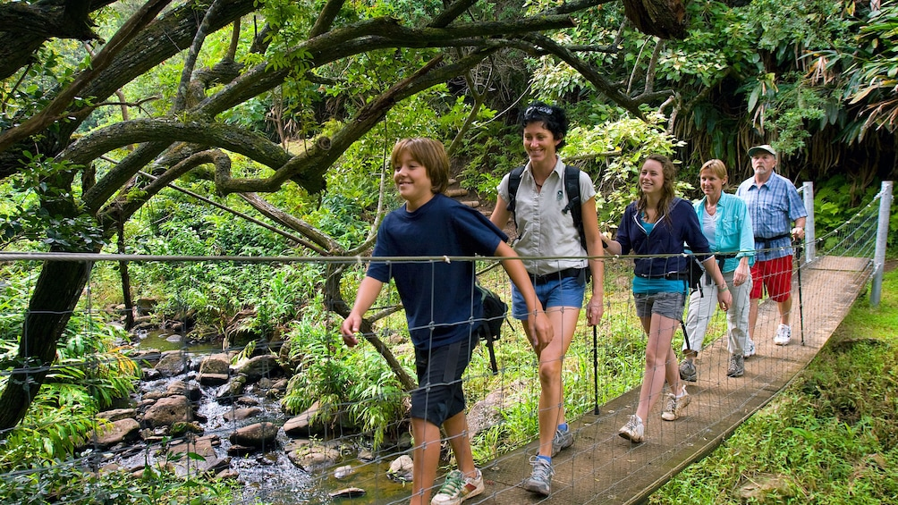 Show item 4 of 5. Group crossing over stream on a wooden bridge in Hawaii