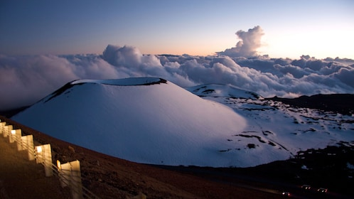 Snow covering the top of the Mauna Kea volcano in Hawaii