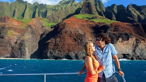 Two people on deck of a cruise ship in Hawaii