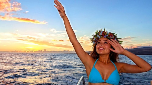 Sunset cruise with woman in Hawaii