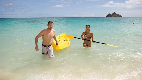 Paddle to the shores of Lanikai Beach and enjoy lunch on the golden sands