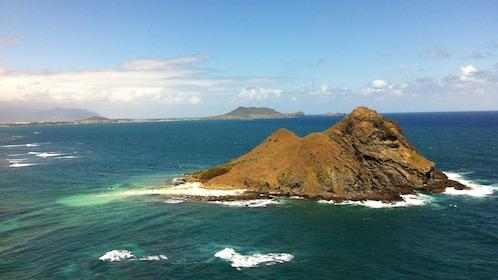 Aerial view of small island near Oahu