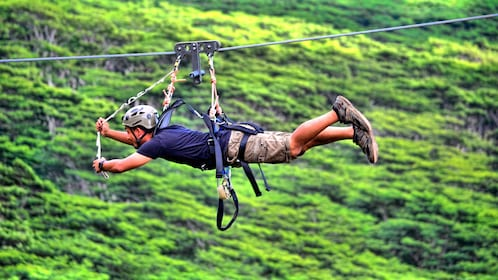 Ziplining Man in Kauai