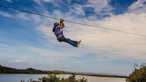 Ziplining Woman in Kauai