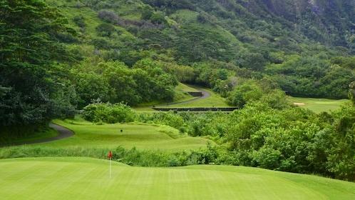 Lush greenery surrounds a golf hole at Ko'olau Golf Club