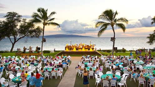 Audience and stage view of Te Au Moana Luau in Maui