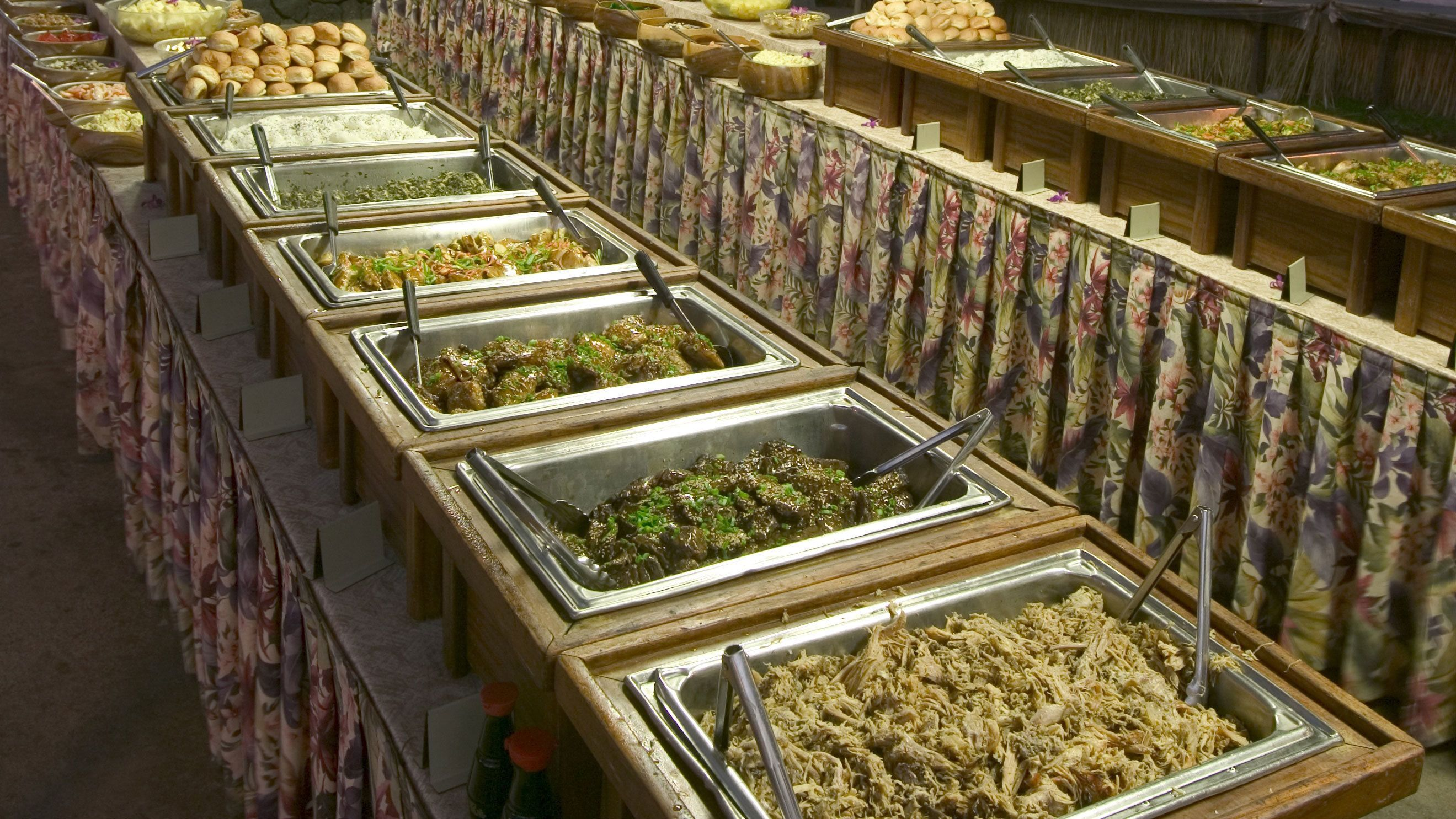 Buffet style food set up in the Royal Kona Resort in Hawaii