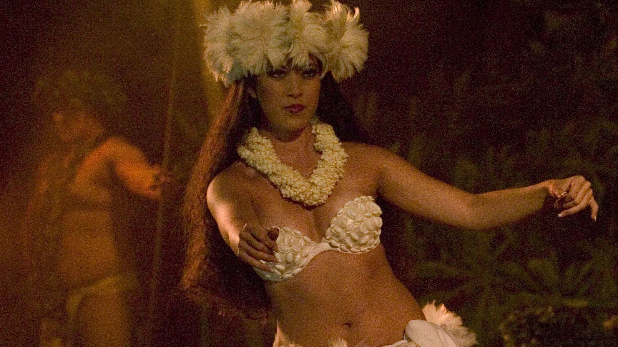 Close up of female luau dancer in Hawaii