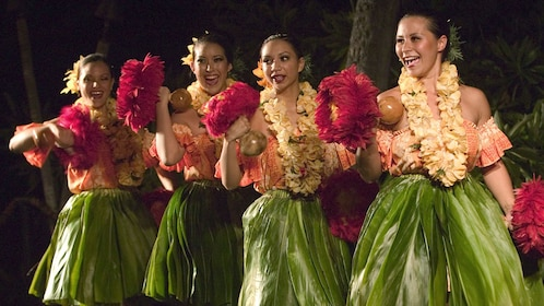 For female performers in leave skirts in the luau at the Royal Kona Resort in Hawaii