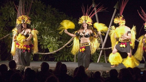 Luau performers on stage at the Royal Kona Resort in Hawaii