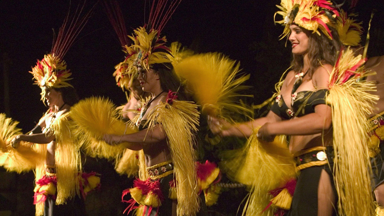 Female luau dancers on stage in Hawaii
