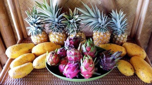 tropical fruits in a large bowl in Maui