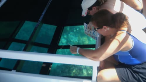 Couple looking down into the glass bottom part of a boat in the Pacific Ocean near Hawaii