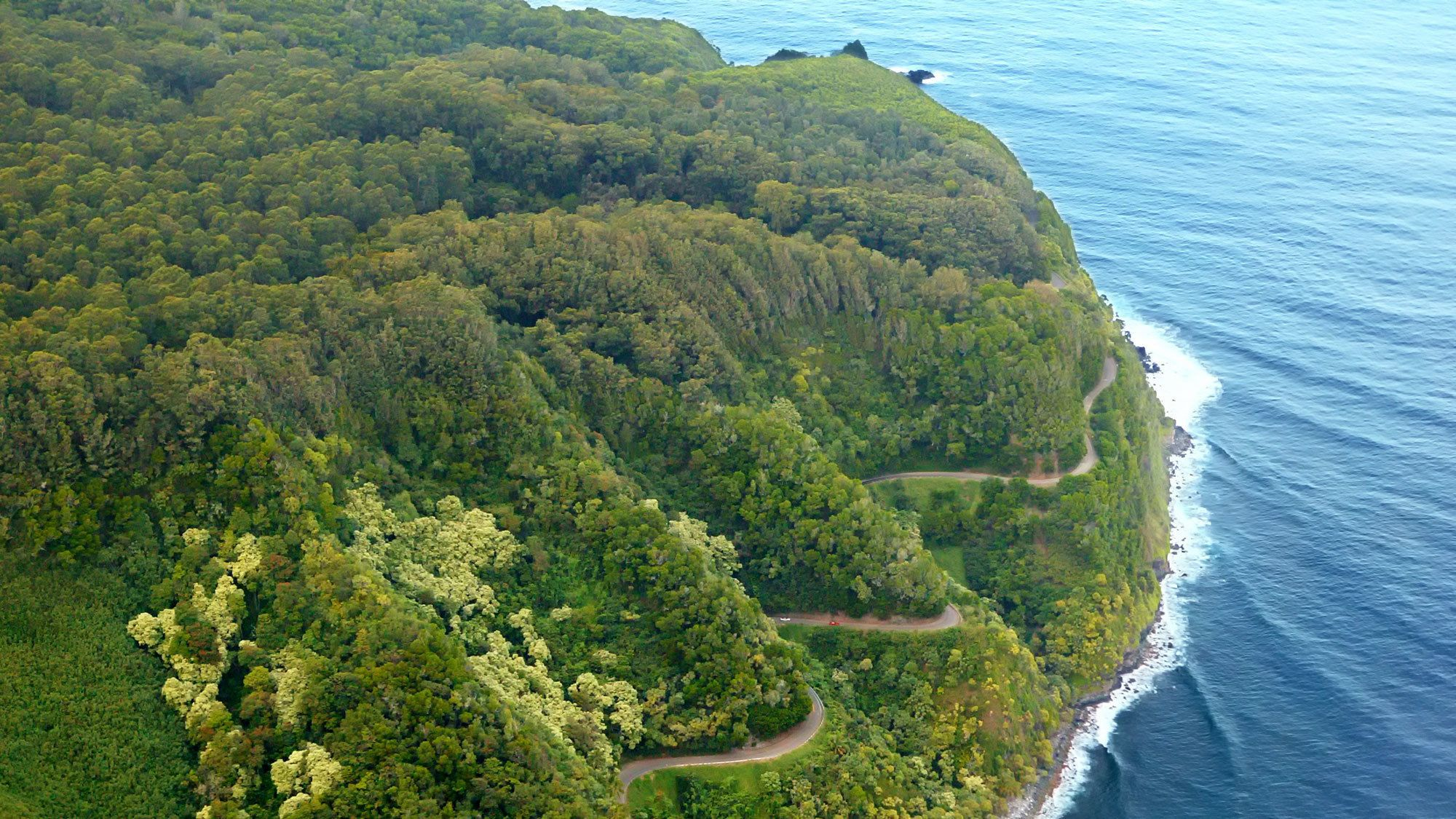 Aerial of curvy road on the Fly and sightsee Maui with Hana landing in Maui
