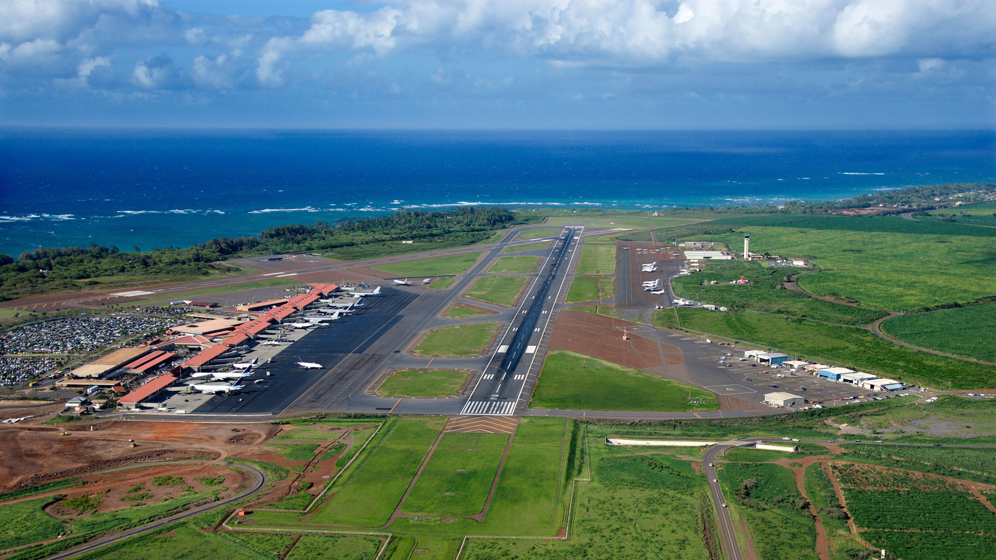 Aerial of the runway used in the Fly and sightsee Maui with Hana landing in Maui