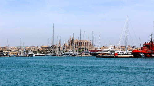 Mallorca Island seen from a boat in its harbor