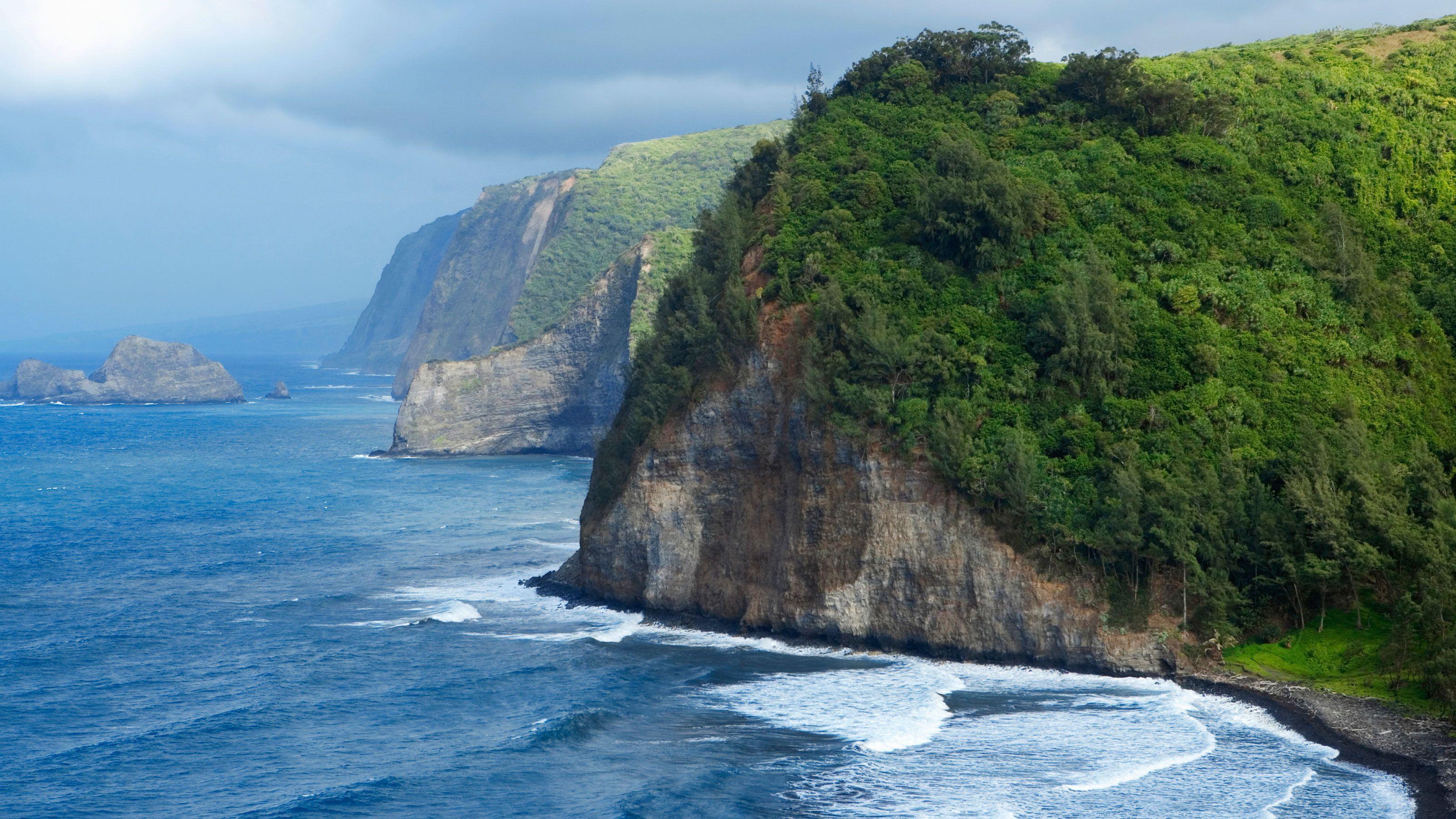 Aerial of a rocking shoreline in Hawaii