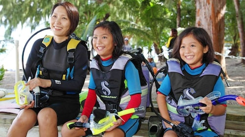 children in diving gear in Micronesia