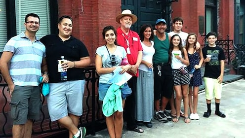 People with tour guide on a street in Savannah