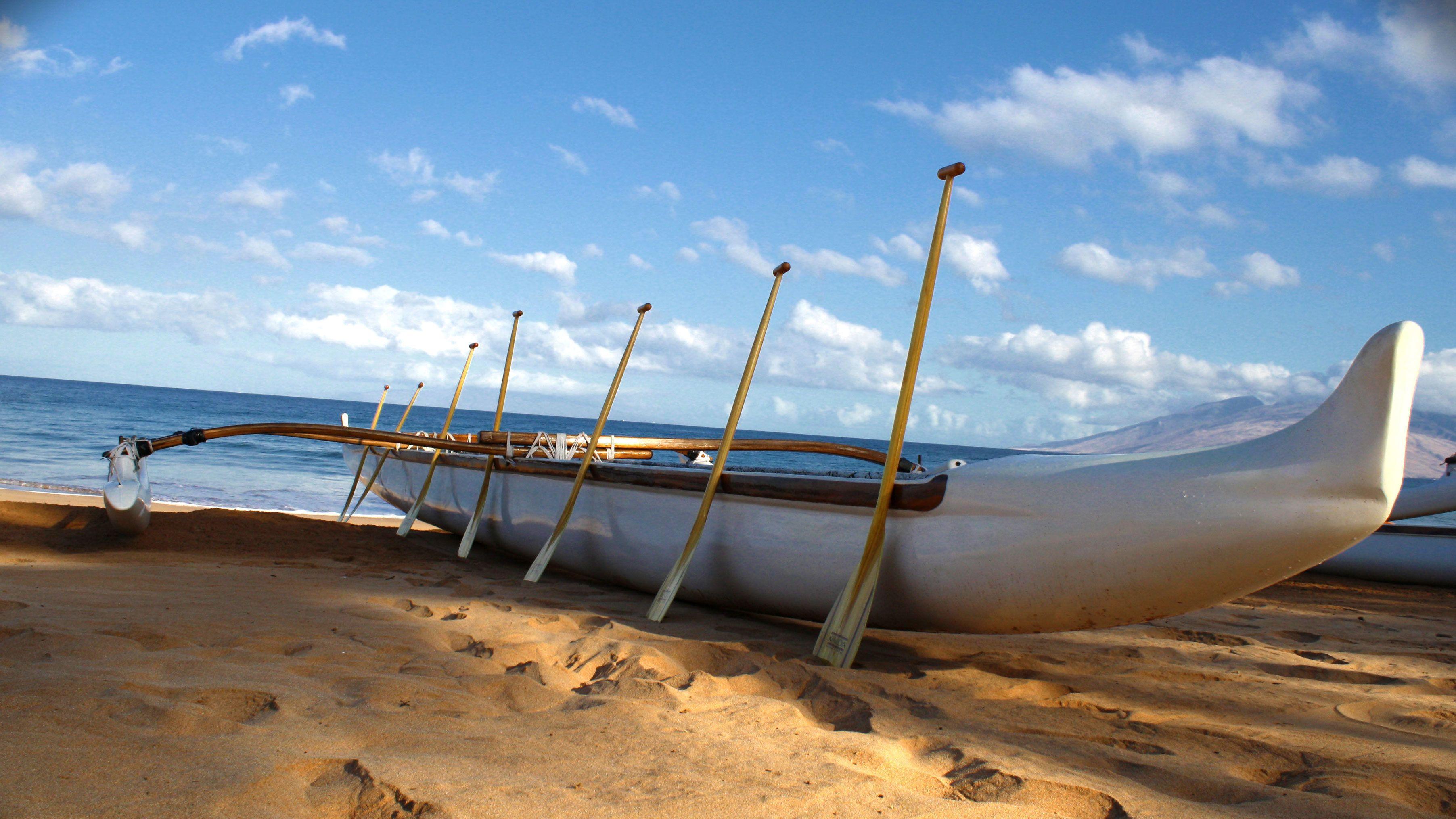 Outrigger canoe on the beach on Maui