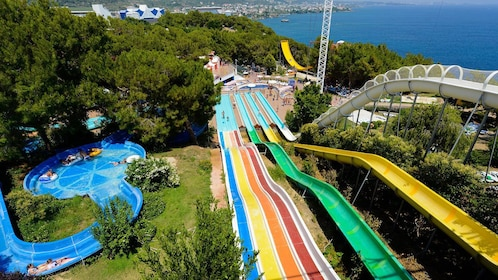 Pools and waterslides next to the coast of Turkey