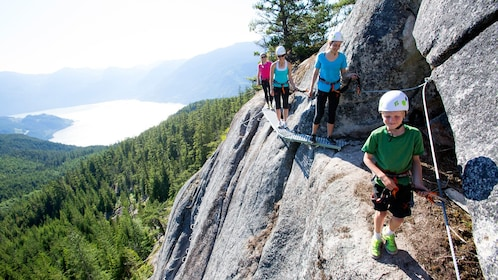 climbers strapped to a fixed rope in Squamish