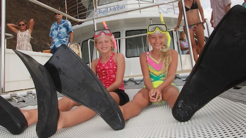 Girls on boat in Kauai