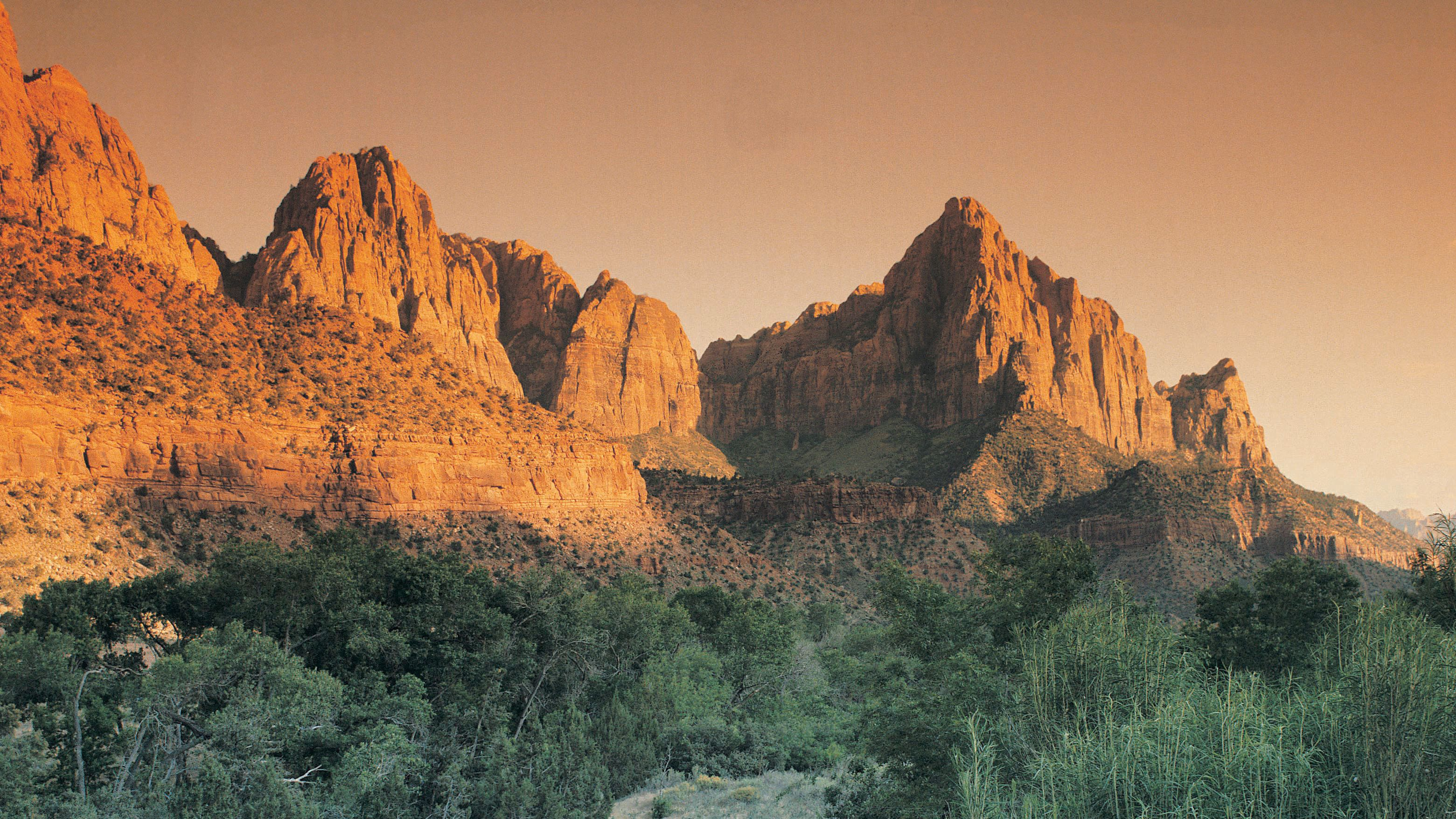 Rock formations of Zion National Park at sunset