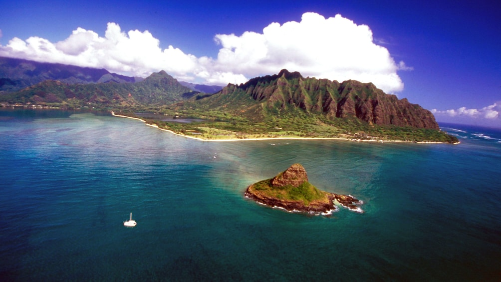 Show item 4 of 6. Aerial view of Oahu island
