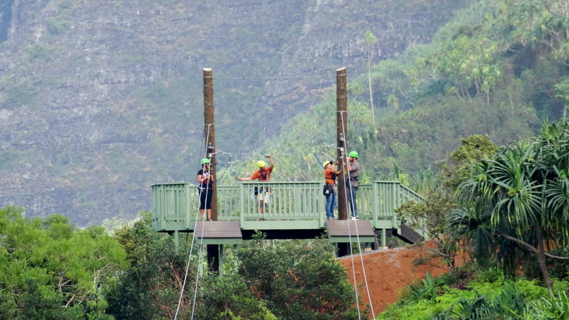 People getting ready to zipline on Oahu
