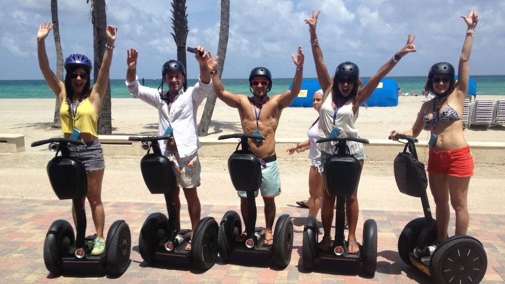 Show item 5 of 5. Segway riding group on Hollywood Beach in Florida