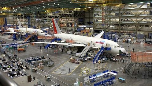 Panoramic view of the Boeing Factory in Seattle