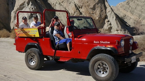 Tour group in a jeep heading to San Andreas Fault
