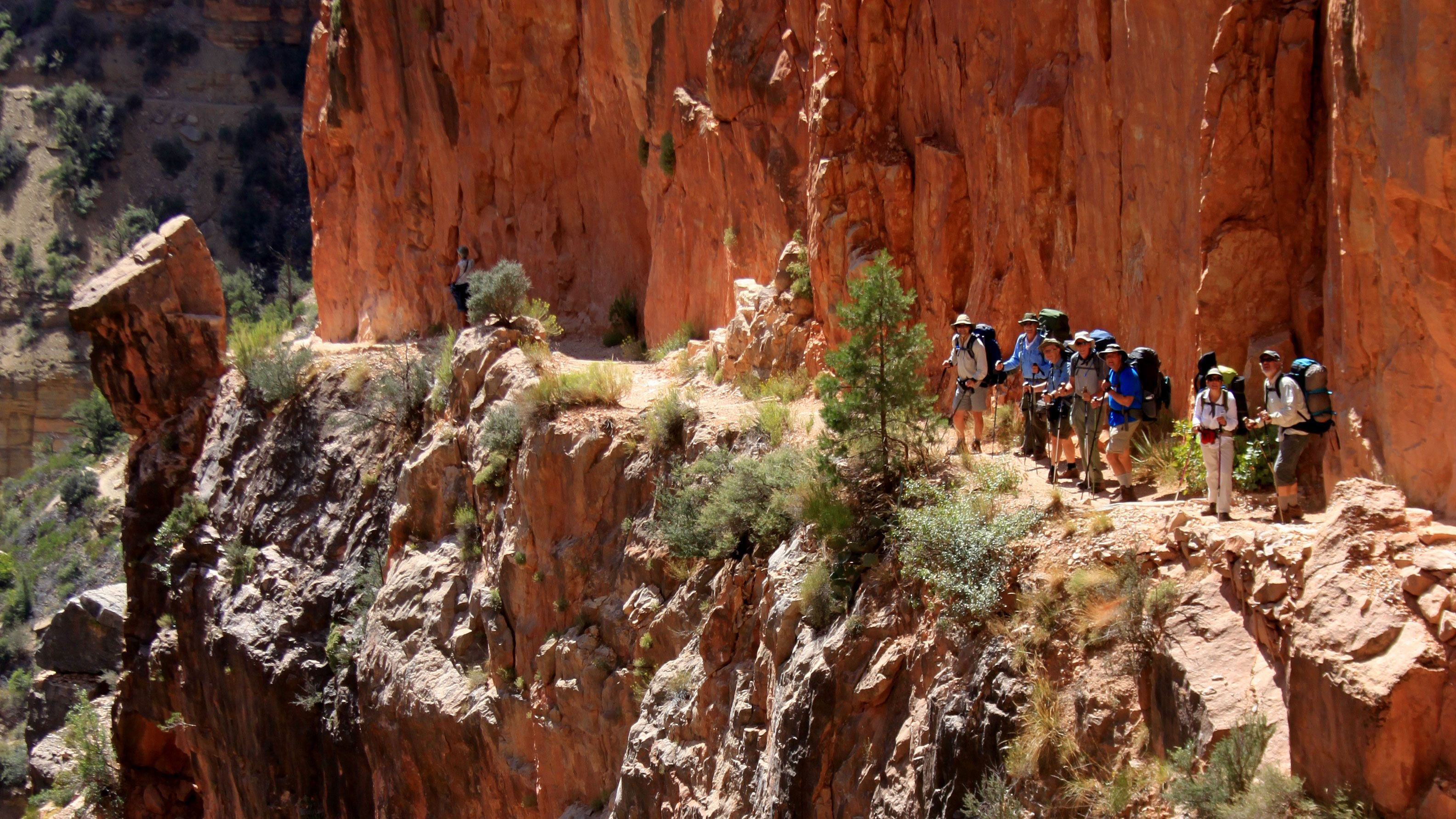 Several hikers walking along canyon.