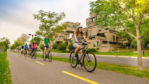 View of a group cycling down the roads of Montreal, QC, CAN