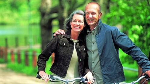Couple enjoying a bike tour of Montreal, QC, CAN