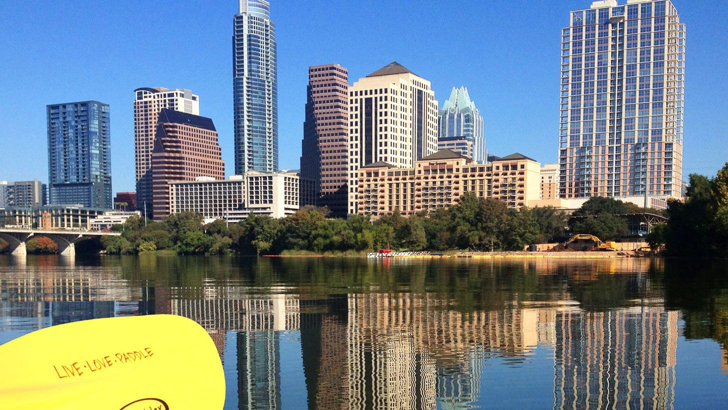 View of Austin skyline from kayak