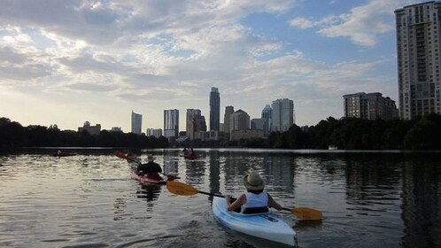 Kayakers shown from behind paddling over river with view of skyline.