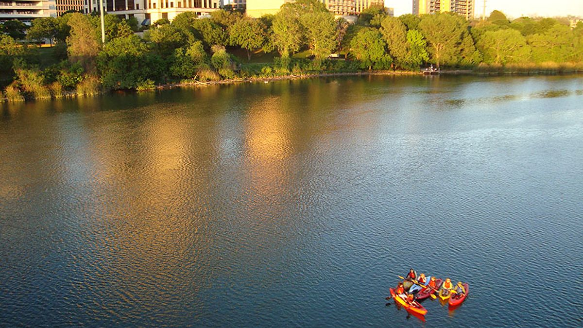 Group of kayakers on river in Austin