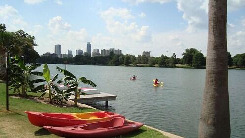 Riverfront view of city skyline.