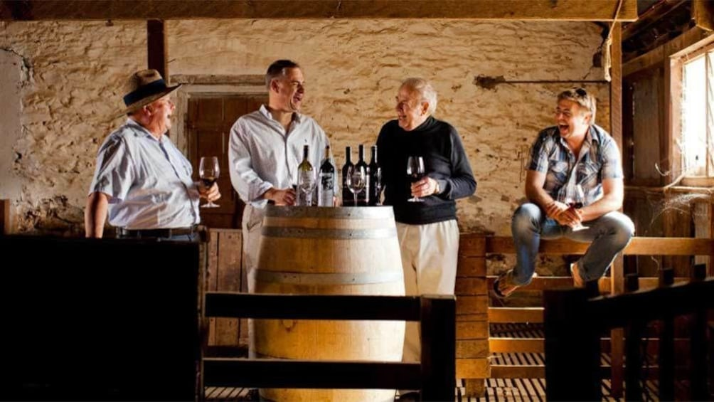 Group inside enjoying different wines in South Australia