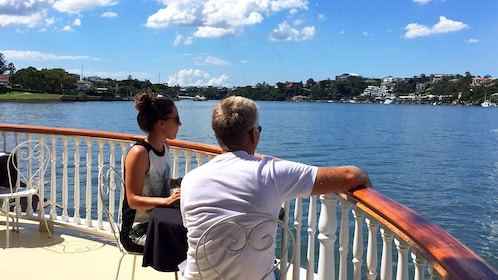 People enjoying lunch off of boat in Brisbane