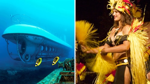 Submarine under water and a performer in Luau dress in Hawaii