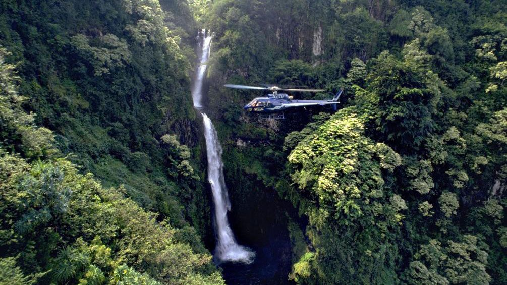 West Maui mountains waterfall on the Best of Maui Helicopter tour